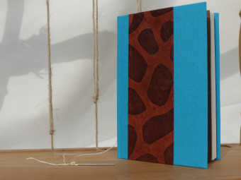 Turquoise blue cloth bound sketchbook, paper 90gsm