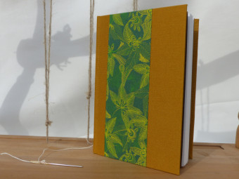 Ochre cloth bound sketchbook, paper 160gsm