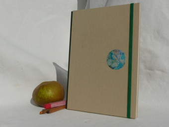 Watercolour sketchbook, green leather spine, beige cloth, paper 224gsm